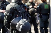 Police officers in protective clothing at a neo_Nazi demonstration in Koblenz, Rhineland_Palatinate, Germany, Europe