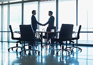 Silhouette of businessmen shaking hands in conference room (thumbnail)