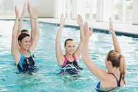 Women taking water aerobics class in swimming pool