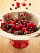 Close up of berries falling into red colander