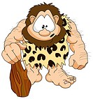 An illustration of a cute hairy caveman with a club