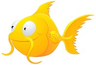 A clipart illustration of a cute lovable goldfish type fish