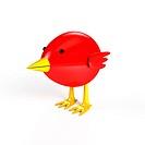 Littlle bird over white background. 3d rendered image