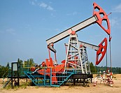 oil pumps closeup of Lukoil company in Russia
