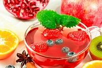 Winter fruit tea with fresh fruits