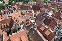 View over historic town centre from Blue Tower, Bad Wimpfen, Neckartal, Baden-Wuerttemberg, Germany, Europe