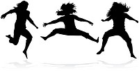 Jumping girls silhouette _ vector