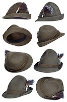 Tirol hat collection with white background