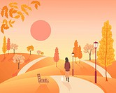 an illustration of a woman walking a small dog in an autumn park with old fashioned lamps and colorful trees