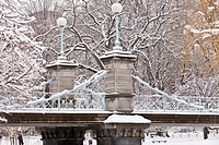 Snow covered trees with a footbridge in a public park, Boston Public Garden, Boston, Massachusetts, USA