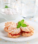 Shortbread cookies with jam, powdered with icing sugar