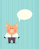 Pig in business suit. Cartoon illustration