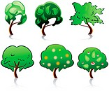 Set of tree symbols for deign or ecology emblems