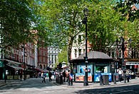 London West End theater ticket booth on Charing Cross Road  Irving St on the left leads to Leicester Square