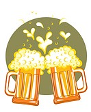Glasses of beer.Vector color symbol of Illustration for design