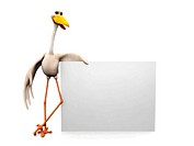 A cartoon stork holding a blank sign.