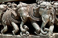 Hindu elephant sculptures at the Helebid temple near Bangalore, India