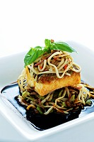 Turbot with udon noodles Asia