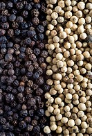Black and white peppercorns