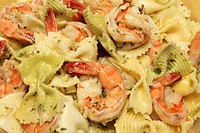 Shrimp Scampi Made with Bow Tie Pasta, Close Up