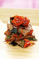 Veal fillet with aubergine and tomato ragout