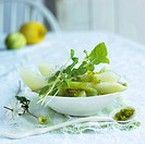Melon and kiwi salad with lime sugar