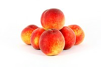 fresh colorful ripe peaches isolated on white