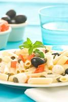 fresh macaroni mozzarella olives capers tomatoes salad isolated