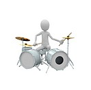 3d man playing drums set