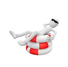 3d man relaxing in the sun on top of life buoys