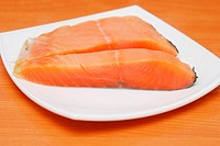 pieces of fresh fish on the plate