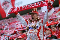 Cologne fans cheering their team at the start of the game, Bundesliga federal league, 1. FC Koeln - FSV Mainz 05 4:2, Rhein-Energie-Stadion, Cologne, ...