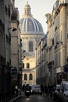 The view of the dome of L´Academie francaise French Academy from Rue Mazarine  Paris  France.
