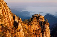Orange dawn glow on Monkey watching the Sea of fog Peak at Huangshan China