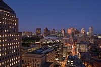 City lit up at dusk, John Hancock Tower, Boston, Suffolk County, Massachusetts, USA