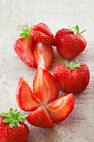 Strawberries, whole and quartered
