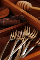 Antique Silver Forks in a Wooden Box