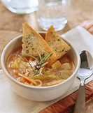 Minestrone primavera Vegetable soup with toast, Italy