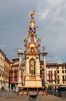 Rua, pyramidal tower, the tower is built every year in September on Piazza dei Signori square, Vicenza, Veneto region, Italy, Europe