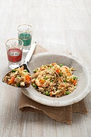 Pilau rice with prawns and chicken