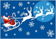 Santa riding on sleigh with reindeer, vector christmas background