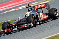 Lewis Hamilton, Britain, driving his McLaren-Mercedes MP4-26, motor sports, Formula 1 testing at Circuit de Catalunya in Barcelona, Spain, Europe
