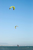A male kite surfing
