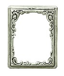 old decorative silver frame _ handmade, engraved _ isolated on white background with clipping paths
