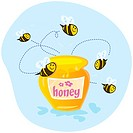 Bees flying around sweet honey. Vector cartoon Illustration.