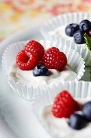 Yogurt with Fresh Berries in Paper Muffin Cups