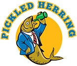 illustration of a Herring fish business suit drinking beer bottle