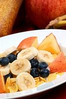 Müsli mit Früchten in einer weissen Schale
