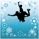 Silhouette of couples dancing on the ice, against a background of stars, snowflakes and ribbons.