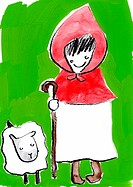 A girl with a red cape standing next to a sheep